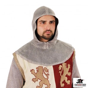 Faux Chainmail Tunic and Coif Ensemble - Silver