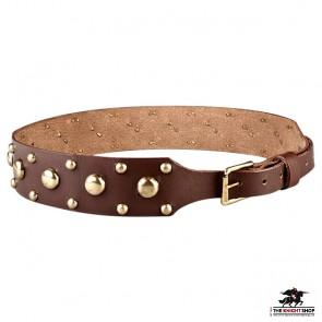 Studded Leather Belt - Brown
