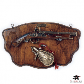 Display Plaque With Pistol & Flask - 17th Century