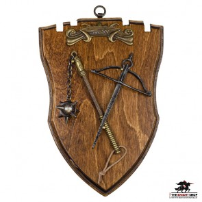 Miniature Crossbow and Flail on Plaque