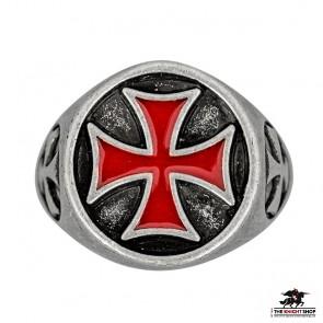 Templar Cross Ring - Red Enamel