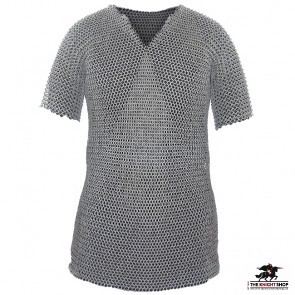 """Chainmail Haubergeon - Wedge Riveted - Flat Ring / Solid Ring - 60"""" Chest"""