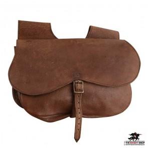 Medieval Buckled Leather Belt Bag
