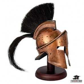Mini Spartan Helmet (Antique Bronze) with Stand