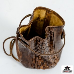 Woven Leather Coin Pouch