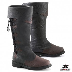 Medieval Knight Boots - Black/Brown