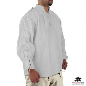 Multi Period Laced Sleeve Shirt - White