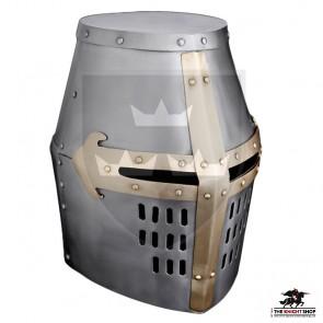 Crusader Great Helm - 16 gauge - Brass