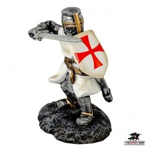 Fighting Templar Knight with Sword Figurine - 9cm