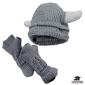 Kids Knitted Viking Hat and Gauntlet Set