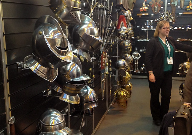 The Knight Shop Trade at  the NEC Spring Fair - medieval helmets display