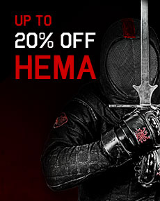 massive HEMA sale of up to 20% off sparring equipment, books, and DVDs